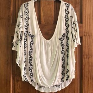 Free People Cream and Black Open Back Top